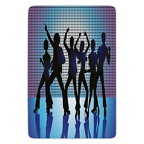 ziHeadwear Bathroom Bath Rug Kitchen Floor Mat Carpet,70s Party Decorations,Silhouettes of Couples Dancing in Night Club Energetic Classic,Aqua Black Purple,Flannel Microfiber Non-Slip Soft Absorbent