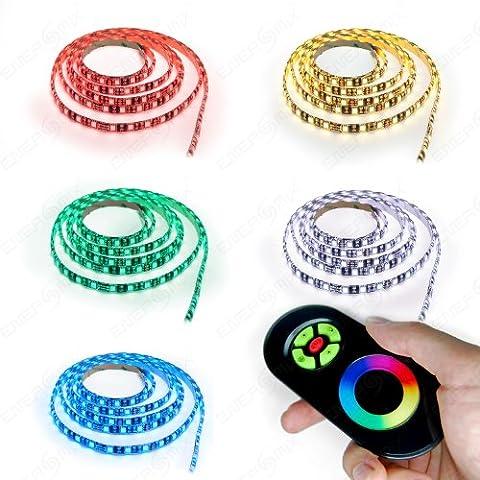 5m LED RGB Strip mit 60x 5050 SMD pro Meter - Komplett Set- Silikonüberzogen - mit Touch Fernbedienung -