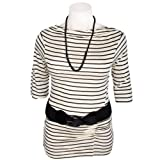 Tommy & Kate Black and Oyster 3/4 Sleeve Stripe Top with Belt and Necklace in Size 20