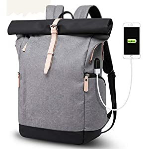 Laptop Rucksack Damen Herren, Roll Top Rucksack mit USB fur 15.6 Zoll Notebook, Anti-Theft Tasche Daypack Mode Rucksack…