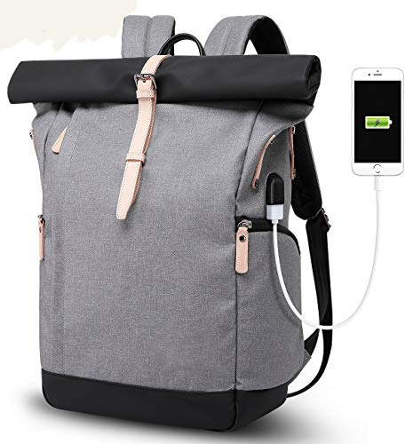 n Herren, Roll Top Rucksack mit USB fur 15.6 Zoll Notebook, Anti-Theft Tasche Daypack Mode Rucksack Frauen, Wasserabweisend Schulrucksack Mädchen Teenager Schulranzen Jungen ()
