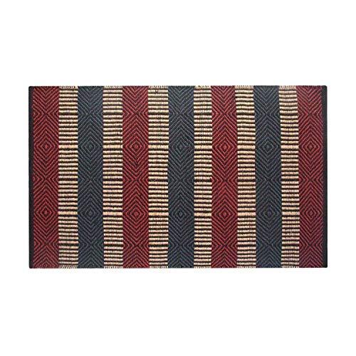 Homescapes Naturfaser Teppich Vorleger 120 x 180 cm 100% Jute Teppich rot blau beige geometrisches Muster Raute gestreift (Teppich Rot Blau)