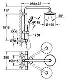 GROHE Euphoria 180 mm |Brausen- und Duschsysteme - Duschsystem | Duscharm 450mm, mit Thermostat | 27296001 Vergleich