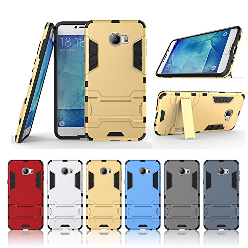 Wkae Case Cover 2 in 1 New Armour Tough Art Hybrid Dual Layer Rüstung Defender PC Hard Cases mit Ständer Stoß- Fall für Samsung Galaxy C7 ( Color : Blue Black , Size : Samsung C7 ) Blue Black