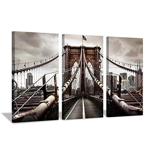 Cityscape Bild Urban Landscape Art: Brooklyn Bridge NYC Druck auf Leinwand Decor