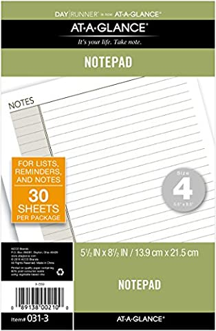 Day Runner Undated Lined Notepad Refill, 5.5 x 8.5 Inches