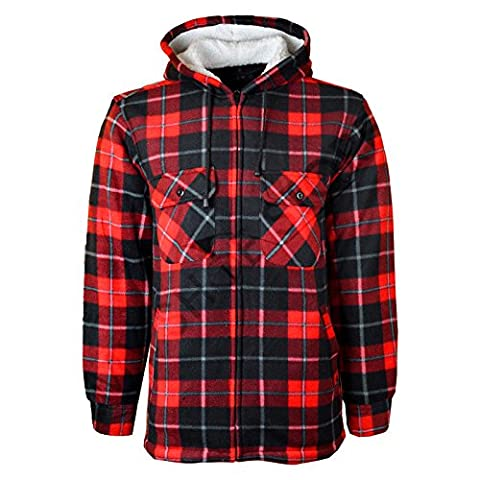 MyShoeStore® Unisex Padded Shirts Lumberjack Collared Hooded Flannel Check Jacket Thick Quilted Work Wear Warm Thermal Fleece Fur Lined Top Casual Coat Plus Big Size S-5XL