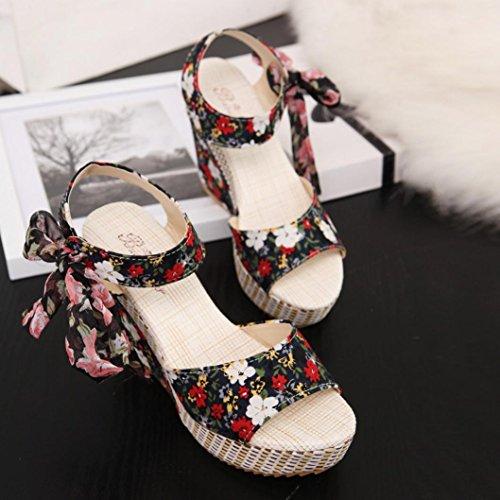 Bescita Frauen Mode Sommer Hang mit Flip Flops Sandalen Slipper Schuhe Schwarz