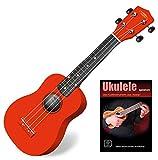 Classic Cantabile Soprano US-100 RD Ukulélé rouge SET avec cahier d\'école + CD