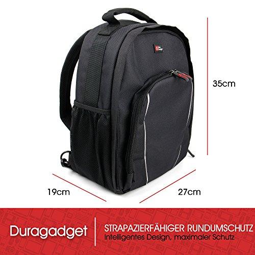 DuraGadget - Tasche in 3 Tragevarianten - Schultertasche   Gürteltasche   Tragetasche für Ihren Camcorder Seree HDV-520   HDV-S14   HDV-S38, sowie Platz für Zubehör Schwarz-Rücken