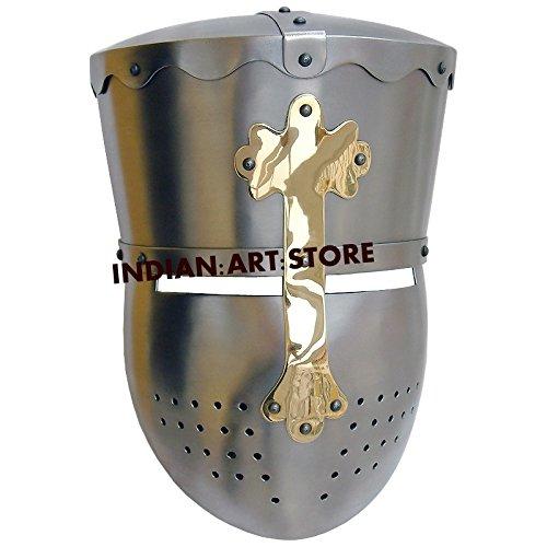 New Super Mittelalter Kreuzritter Templer Helm Armour Helm römischen Knight Helm LARP SCA Helm (Templer Kreuzritter Kostüm)
