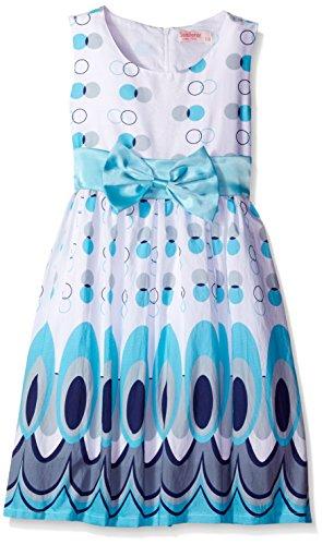 Sunny Fashion Robe Fille Bleu Paon Queue Frais Été Filles 4-5 ans