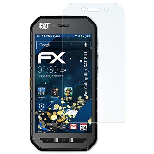 atFolix Schutzfolie kompatibel mit Caterpillar CAT S41 Panzerfolie, ultraklare und stoßdämpfende FX Folie (3X)