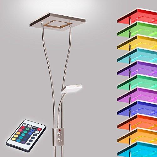 Deckenfluter LED mit RGBW Farbwechsel | Stehleuchte inkl. Fernbedienung | Stehlampe + Leselampe | Fluter mit 1x LED-Board 4W 350lm 3000K | Leuchte dimmbar | + Gratis LED-Taschenlampe