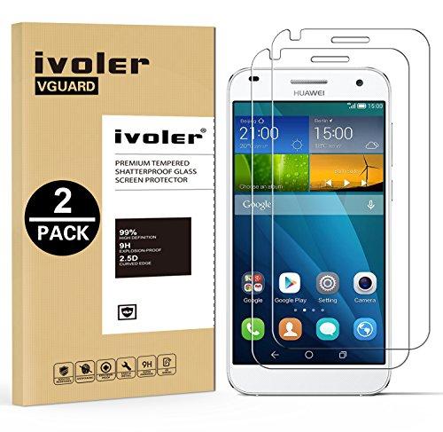 [2 Pack] Huawei G7 Protector de Pantalla, iVoler [0.3mm Dureza 9H] Protector de Pantalla de Vidrio Templado Cristal Protector para Huawei Ascend G7 -Dureza de Grado 9H, Espesor 0,30 mm, 2.5D Round Edge-[Ultra-trasparente] [Anti-golpe] [Ajuste Perfecto] [No hay Burbujas]- Garantía Incondicional de 18 Meses