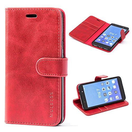 Mulbess Ledertasche im Ständer Book Case / Kartenfach für Huawei Honor 7 / Honor 7 Premium Tasche Hülle Leder Etui,Wine Rot