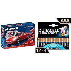 PLAYMOBIL Porsche 911 Carreras S 3911 con Duracell - Ultra AAA con Powerchek, Pilas Alcalinas (Paquete de 12) 1.5 Voltios LR03 MN2400