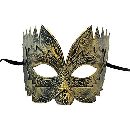 UELEGANS Halloween Bronze Maske Antike griechische römische Sägezahn gravierte Maskerade Maske Herren Karneval in Venedig Halloween Hochzeit Ball Maske (Antike Griechische Kostüm Und Masken)