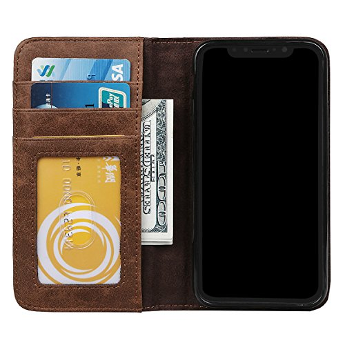 Hülle für iPhone X / 10, xhorizon Geldbörse-Buch-Schutzhülle für Handys aus Leder, Erstklassig, Kreditkartenhalter, Klassischer Buchstil, Geldbörse Flip-Slim-Case für iPhone X / iPhone 10 Brown