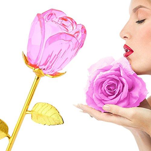 ZJchao Rosen – Crystal Rosenknospe mit Gold 24K Stem – Beste Geschenk für Muttertag, Valentinstag, Muttertag, Jubiläum, Hochzeit, Geburtstagsgeschenk (rosa)