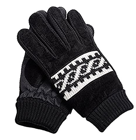BXT Mens Winter Leather Gloves Thermal Knit Mittens Insulated Warm Fleece Gloves Windproof Snowproof Winter Sports Gloves Ski Snowboard Riding Motocycling Bike Hiking Camping Outdoor Gloves