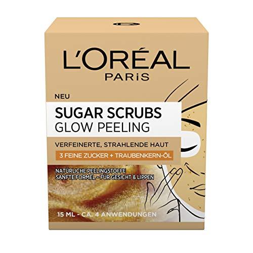 L'Oréal Paris Sugar Scrubs Glow Gesichtspeeling, mit Zucker und Traubenkern-Öl, für eine glatte und strahlende Haut, 2er Pack(2 x 15 ml) -