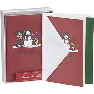 Hallmark weihnachtskarten verpackte karten px2332 life is good junge und schneemann - Weihnachtskarten amazon ...
