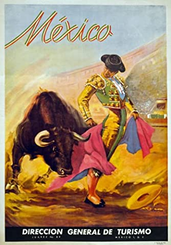 TX18 Vintage 1930's MEXICO Mexican Matador Bull Fighter Travel Poster Re-Print - A4 (297 x 210mm) 11.7