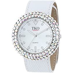 TKO ORLOGI Women's TK618WT Leather Slap White Crystal Watch