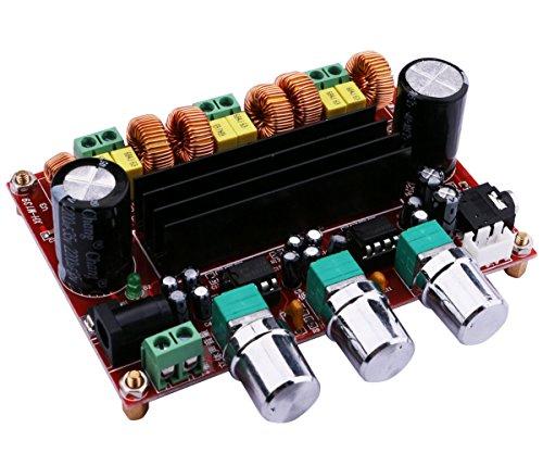 24v Verstärker (Yeeco 2x50W+100W Kanal-Digital-Energie Audio Sereo Verstärker-Brett, DC 12-24V Auto-Stereo AMP Modul für Audiosystem-DIY Lautsprecher mit 3.5 Audio-Eingang/ DC-Anschluss)