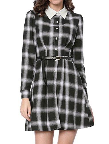 Allegra K Women's Contrast Collar Belted Above Knee Plaid Shirt Dress S Black