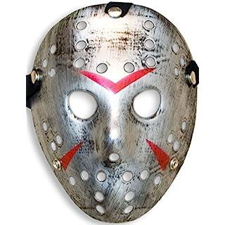 HomeTools.eu® - Halloween Maske | Kostüm Horror Hockey Myers Gesichts-Maske | Fasching, Karneval, Grusel-Kostüm Hockey-Maske Fratze | Shabby Silber