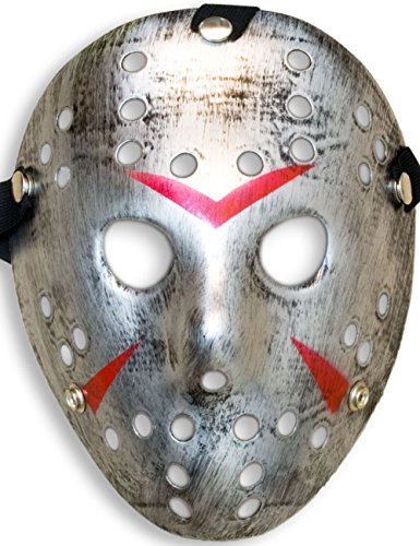 HomeTools.eu® - Halloween Maske | Kostüm Horror Hockey Myers Gesichts-Maske | Fasching, Karneval, Grusel-Kostüm Hockey-Maske Fratze | Shabby Silber (Kostüm Halloween Silber Ideen)