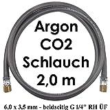 Argon CO2 Schutzgas Gasschlauch 2 Meter beidseitig G 1/4