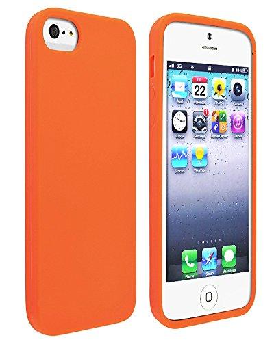 Great Deals on Click Sales, Apple iPhone 5 5G 5S, gel RUBBER de silicone souple et flexible de peau en caoutchouc Grip cover flip case, étui de protection SKiN Housse en, Coque + stylet tactile (vert) orange