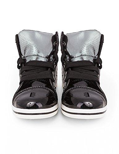 Kinder Mädchen Jungs High Boots Sneaker Sportschuhe Gold Silber Schwarz Schuhe Stiefelette Weisse Sohle Metall-Look - 2951 Schwarz
