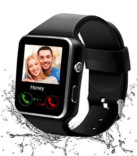 Smartwatch, Bluetooth Smart Watch Android Orologio Intelligente con Camera SIM TF Card Slot Facebook WhatsAPP Sport Watch Pedometro Wrist Watch Telefono Watch per Uomo Donna Bambini (X-Blakc)