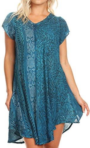 Sakkas 18701 - Salina Damen Crinckle Cap Sleeve V-Ausschnitt Top Tunika Bluse Pailletten & Print - Türkis - OSP