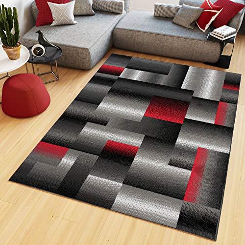 Tapiso maya tappeto salotto moderno soggiorno grigio rosso geometrico a quadretti a pelo corto 200 x 300 cm