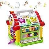 Baby Spielzeug,bunte musikalische lustige Steckhaus mit Licht und Musik Spielen,verschiedene geometrische und Tiere Steckbausteine,Entwicklung Förderung,für Mädchen,Jungen, Kleinkinder und Babys