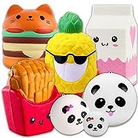 Squishies Lenta Creciente Lindo Grande Squishy Juguetes 7 Paquetes - Hamburguesa Piña Leche Fritas + 3 Pandas, APzek Soft Stress Reliever Toys Squeeze Juguetes para Niños y Adultos de APZEK