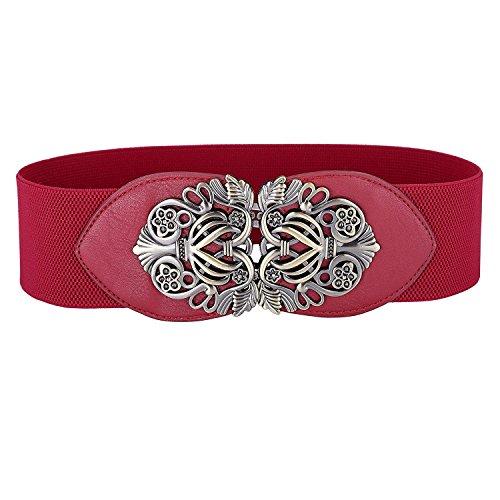 Donna vintage moda elastica cintura con fibbia retro cintura decorativa vita accessori (taglia unica, rosso)
