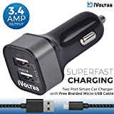 #1: iVoltaa 3.4A Dual Port Rapid Car Charger with Free Braided Charging Cable (Micro USB) for all types of Mobiles,Tablets,GPS