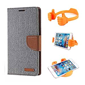Aart Fancy Wallet Dairy Jeans Flip Case Cover for NokiaN520 (Grey) + Flexible Portable Mount Cradle Thumb OK Designed Stand Holder By Aart Store.