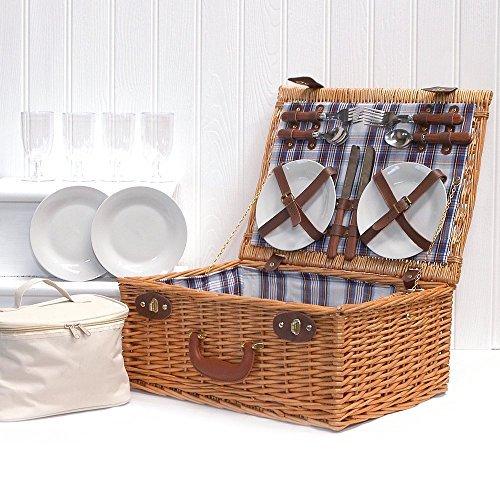 Eleganter Weiden Picknickkorb 'Henley' Für 4 Personen Mit Kühltasche & Zubehör