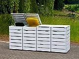 4er Mülltonnenbox / Mülltonnenverkleidung 120 L Holz, Deckend Geölt Lichtgrau