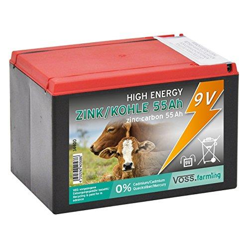 Voss.farming Batterie sèche Zinc Carbone 55Ah - 9V, pour clôture électrique - Petit modèle