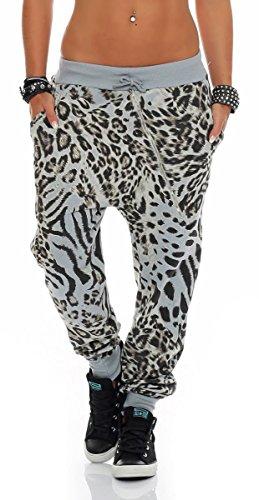 Malito Damen Sweatpants im Leo Design | Sporthose mit Reißverschluss | Baggy zum Tanzen | Jogginghose - 3344 (hellgrau)