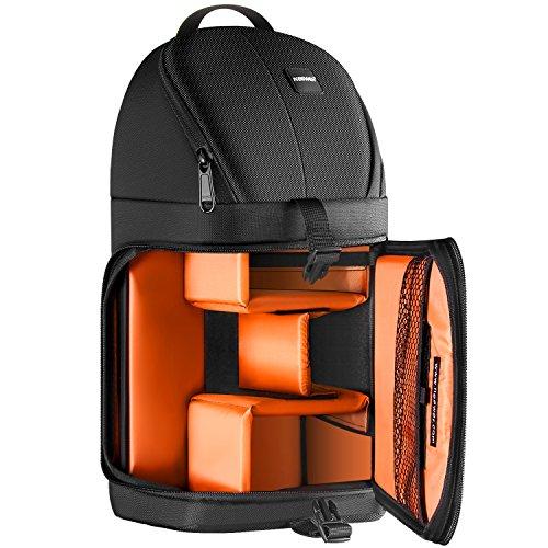 Neewer profesional Bolsa de cámara almacenamiento Durable resistente al agua y prueba del rasgón negro mochila maletín para cámara DSLR, lente y accesorios NW-XJB02S (Interior naranja)