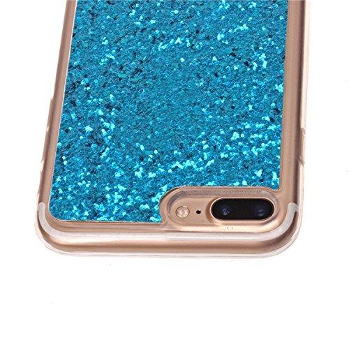 Tpu Étui pour iPhone 7 Plus , Etsue Coque Joli Luxe Bling Glitter Éclat Doux Protecteur Coque pour iPhone 7 Plus,Gel Cadre Transparent Clear de Cristal Remplissage Housse étui pour iPhone 7 Plus,commo Bleu